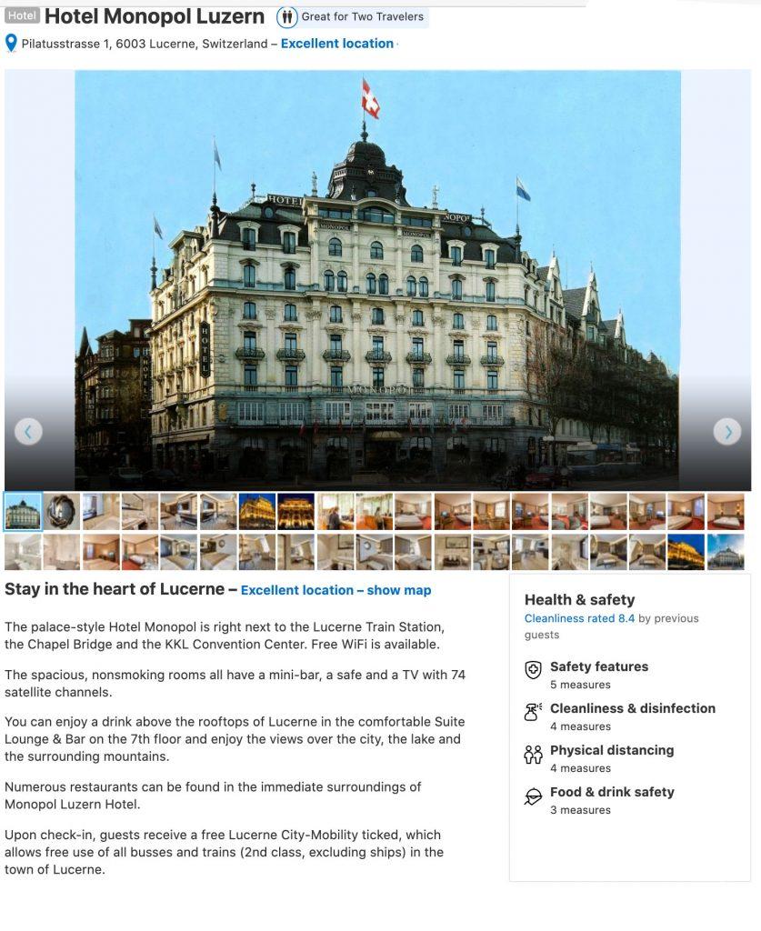 Hotel Monopol Luzern Pilatusstrasse 1 Lucerne,