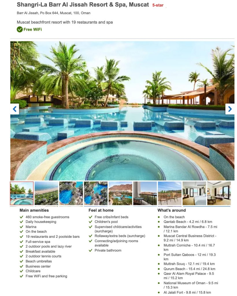Hotel Shangrila Barr Al Jissah Resort & Spa