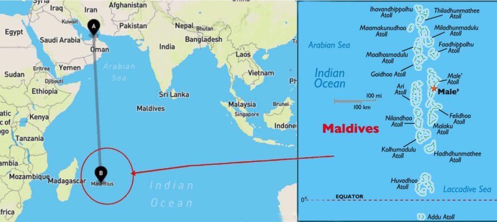 Dubai-Maldives-Map